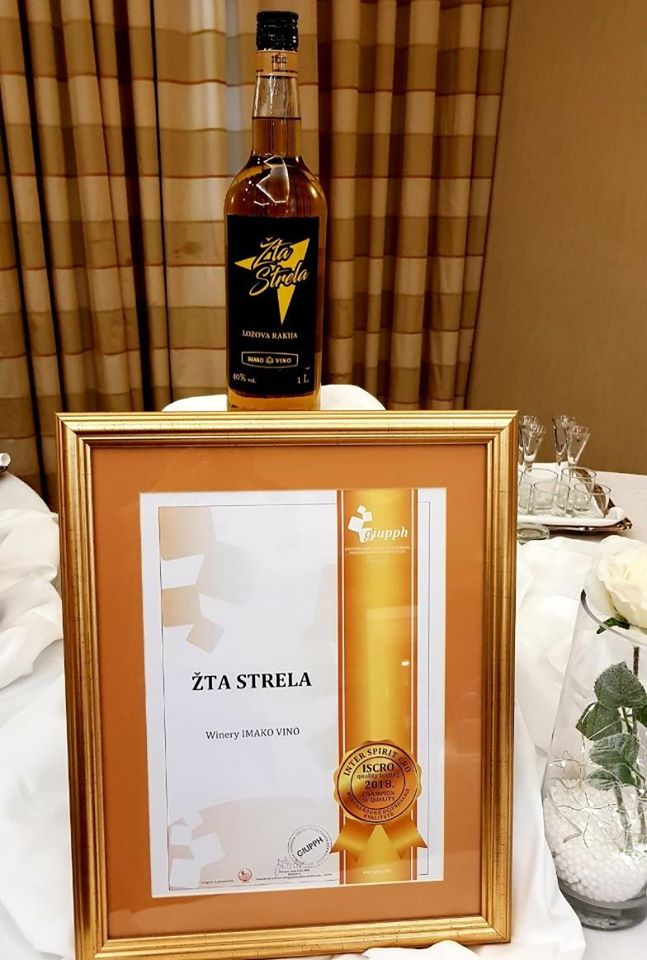 "Grape brandy Z'ta Strela wins the most prestigious award ""Quality Champion"" at ISCRO 2018"